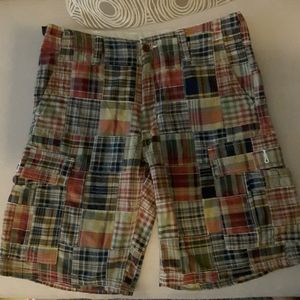 Yago Mens Plaid Checker Shorts Cargo Shorts Gray//Blue//Black